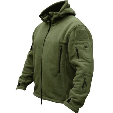 Men Tactical Military Winter Fleece Hooded Outdoor Sports Jacket