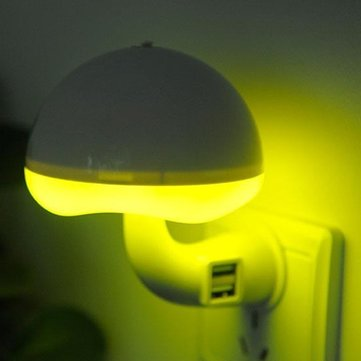 5W LED Light Sensor Mushroom Night Lamp with Dual USB Outlet 220V for Baby Bedroom