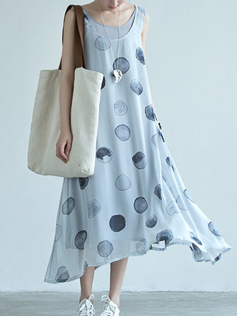 Sleeveless Polka Dot Two-pieces Maxi Dress
