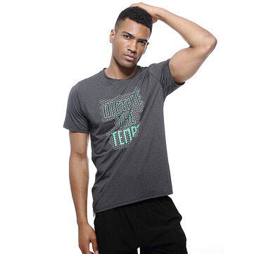 Summer Mens Letter Printed Quick Drying Fitness T-Shirts Moisture Wicking Slim Fit Sport Tops Tees