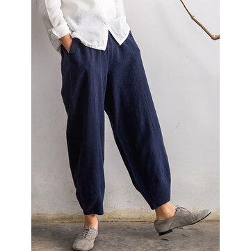 Plus Size Casual Women Pockets Elastic Waist Cotton Bunched Pants