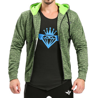 Men's Fashion Sports Fitness Zipper Slim Hooded Tops Solid Color Running Training Hoodies