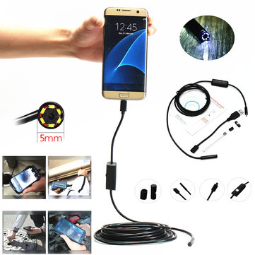 5.5mm 6 Led Micro USB Endoscope Waterproof Inspection Camera 1.5M CD+Hook+Magnet for Samsung Xiaomi
