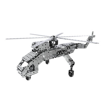 MoFun 3D Metal Puzzle Model Building Stainless Steel Toy Helicopter Model 660PCS