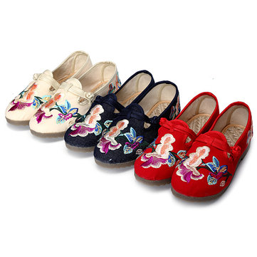 Women Embroidered Shoes Flat Casual Slip On Loafers