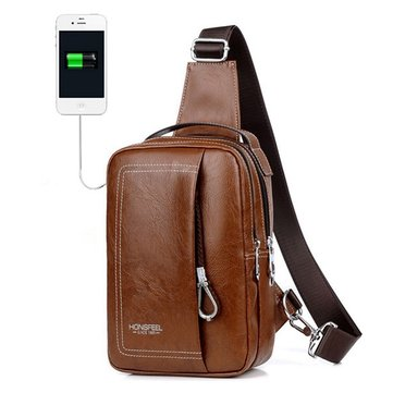 Double Zipper USB Charging Port Sling Bag Chest Bag