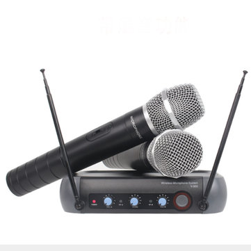 110V-220V Multifunction VHF Wireless Radio Dual Microphone System KTV Handheld Mic Household Amplifier