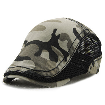 Men Women Camouflage Mesh Cotton Beret Cap