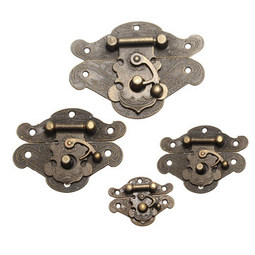 Antique Retro Decorative Latch Vintage Wooden Jewelry Box Drawer Hasp Pad Chest Lock 4 Sizes