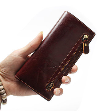 Men RFID Anti-magnetic Genuine Leather Long Wallet Card Hold