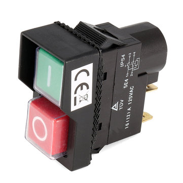 125V IP54 Switch 4 Pin No-Voltage Release Switch Plastic Push Button Switch