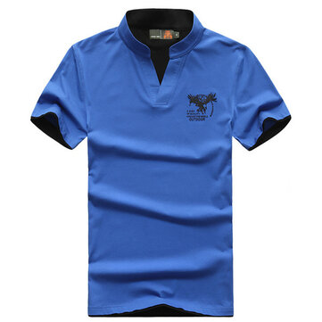 Mens Fashion Stand Collar T-shirts Summer Pure Color Leisure Short Sleeved Tops Tees