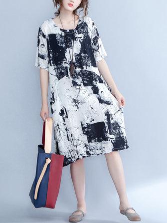 Casual Women Printed Half Sleeve Pocket Tunic Dress
