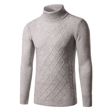 Fashion Mens Down Neck Solid Color Pullover Classic Diamond Pattern Slim Fit Knitte Sweater