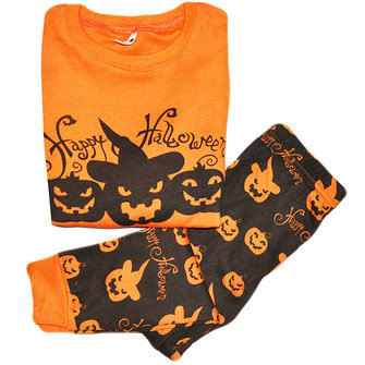 2Pcs Happy Halloween Letters Printed Long Sleeve Kids Tracksuit Costume