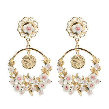 Vintage Flower Exaggerated Ear Drop Women Earrings