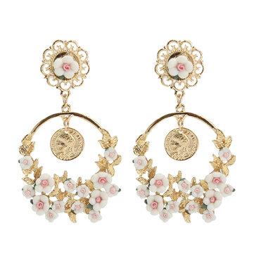 Vintage Flower Exaggerated Ear Drop Femmes Boucles d'oreilles
