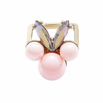 Women's Balancing Style Cute Ring Pink Pearl Rhinestone Ring Clothing Accessories