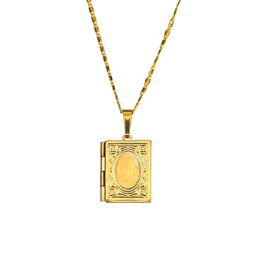 Religious Gold Muhammad Book Box Pendant Chain Islam Muslim Necklace for Men