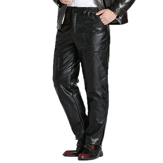 Men's 100% PU Soft Loose Comfy Thick Warm Leather Pants