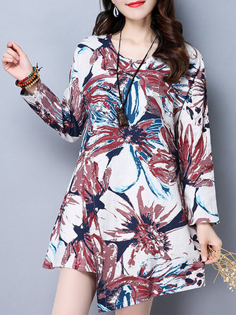 Vintage Women Long Sleeve Irregular Hem Floral Printed Mini Dresses