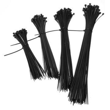 100Pcs 150mm-300mm Black Nylon Plastic Cable Ties Zip Tie Lock Wraps Heavy Duty Reusable DIY