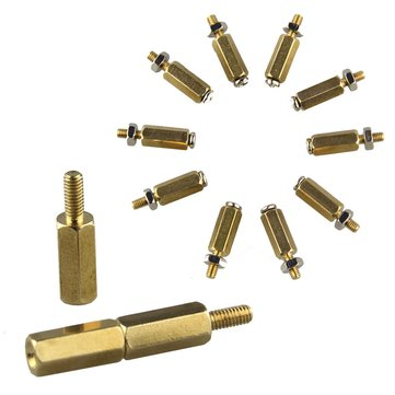 5SETS DIY 11MM Hex Brass Cylinder + Screw + Nut Kits For Raspberry Pi
