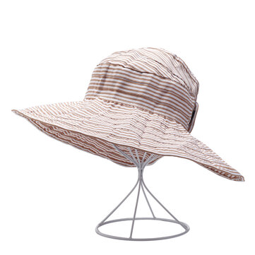 Women Stripe Summer Sunshade Cotton Beach Hat