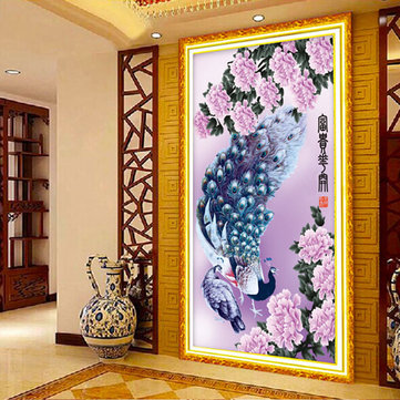 45x73cm 5D DIY Purple Peacocks Diamond Painting Resin Rhinestone Animal Cross Stitch Kit