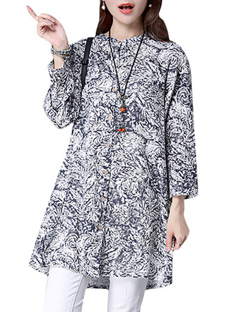 Vintage Women Print Long Sleeve Stand Collar Loose Blouse