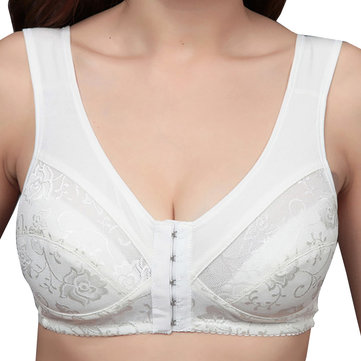 Cotton Front Closure Wire Free Gather Vest Bra
