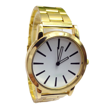 Casual Gold Case Stainless Steel Band Analog Women Watch
