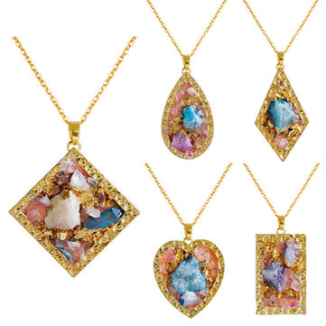 harNatural Stone Multicolor Crystal Heart Geometric Necklace