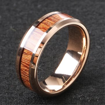 Classic 8mm Tungsten Carbide Ring Wood High Hardness Tungsten Steel Engagement Rings for Men