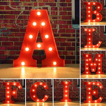 Metal Marquee Red Shell LED Light Letter A to M Sign Carnival Shabby