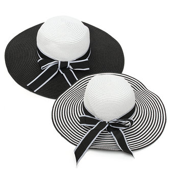 Women Girls Straw Floppy Black White Stripe Bowknot Wide Brim Hat Summer Beach Sun Cap