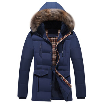 Mens Thick Casual Hooded Detachable Jacket Winter Solid Color Multi Pocket Stitching Shoulder Coat