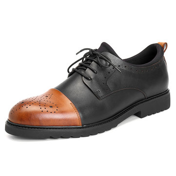 Men Soft Sole Casual Business Genuine Leather Brogue Style Cap Toe Oxfords Shoes