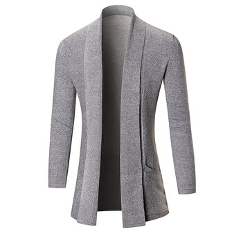 Men's Fashion Knitting Cardigans Long Section Pure Color Turndown Collar Casual Outwear