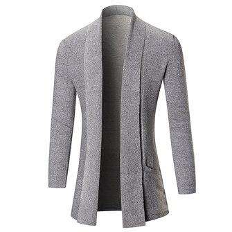 Cárdigans de punto de la manera de los hombres que hacen punto el collar puro de la colada del color de la sección larga ocasional Outwear