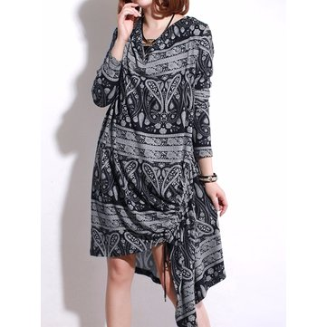 O-NEWE L-5XL Women Vintage Printed Irregular Hem Dress