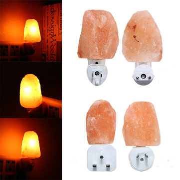 Mini Cute Hand Carved Natural Crystal Himalayan Salt Wall Lamp Night Light Gifts AC110-240V