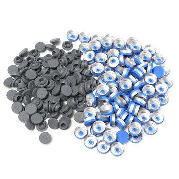 100Pcs 20MM Sealing Bottle Caps Rubber Stopper Blue Aluminum Plastic Cover