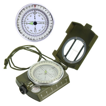 Outdoor Mini Portable Military Army Geology Compass Pocket Prismatic Compass + Pouch