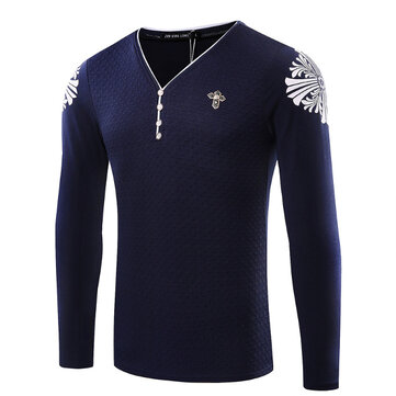 Mens Casual Buttons V-neck Slim Fit Long Sleeve Cotton T-shirt