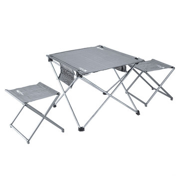 BRS-T03 3pcs Set Portable Folding Table Chairs Ultralight Aluminum Alloy Camping Desk Stools