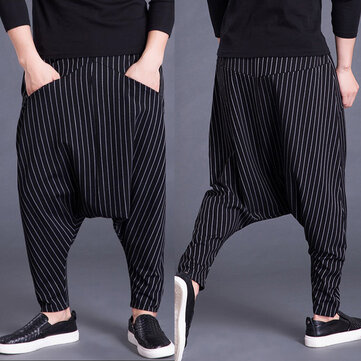 Mens Loose Stripe Pockets Elastic Waist Harem Pants