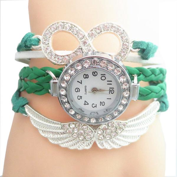 Fashion Rhinestones Case Angel Weaved Leather Ladies Bracelet Watch Casual Women Quartz Wrist Watch