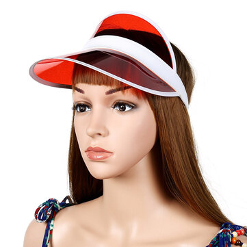 Women Transparent PVC Sun Protection Hat Empty Top Cap