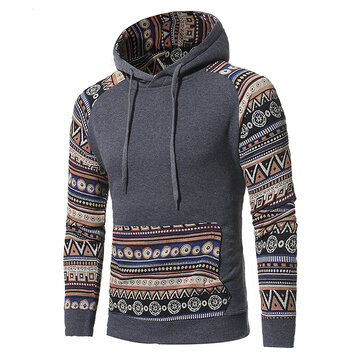 Men Drawstring Slim Printed Hooded Top